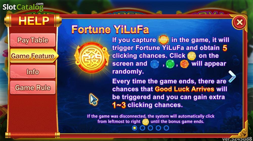 คุณสมบัติของเกมส์ Fishing Yilufa game